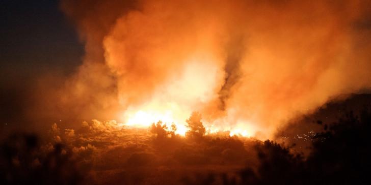 Σε εξέλιξη πυρκαγιά σε οικόπεδα πίσω από το Ολυμπιακό Στάδιο Πάλης στα Άνω Λιόσια