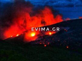 Σε εξέλιξη βρίσκεται η μεγάλη πυρκαγιά  στην Εύβοια