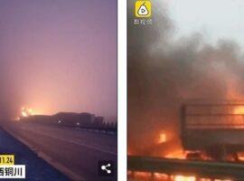 Τεράστια καραμπόλα 40 αυτοκινήτων με 3 νεκρούς –  10 αυτοκίνητα πήραν φωτιά με εγκλωβισμένους