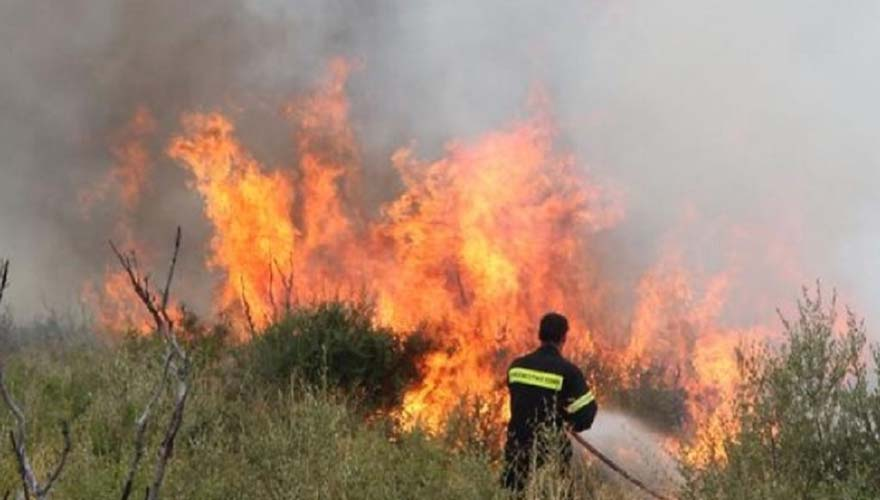 Πυρκαγιά σε δασική έκταση στο Μπαρμπάτι στην Κέρκυρα