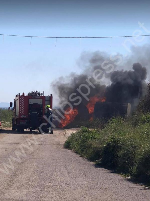 Πυρκαγιά στις εγκαταστάσεις της ΔΕΥΑΧ (Φώτο)
