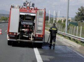 Πυρκαγιά εν κίνησει σε φορτηγό στη σήραγγα των Τεμπών