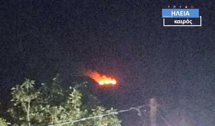 Πυρκαγιά σε εξέλιξη στην Σμέρνα Ηλείας (Φώτο)