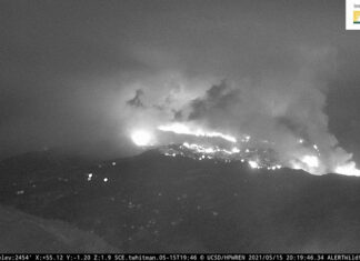 Palisades Fire looking NE from 69Bravo Helistop at 819 pm PDT May 152021