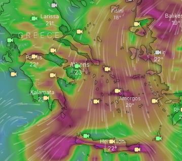 Ισχυροί άνεμοι έως 7 μποφόρ σε πολλές περιοχές της χώρας και υψηλός κίνδυνος πυρκαγιάς