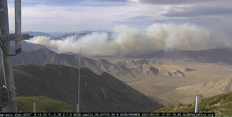 Southern Fire looking north from Monument Peak at 507 p.m. PDT May 1 2021. ALERTwildfire image 768x387 1