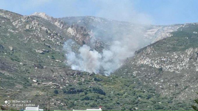Πυρκαγιά ΤΩΡΑ σε δύσβατη περιοχή στην Νάξο