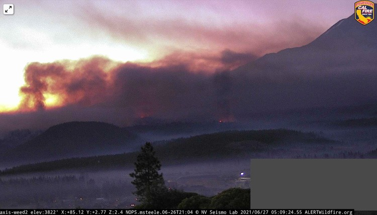 Lava Fire. Looking east from the Weed2 camera at 509 a.m. PDT June 27 2021