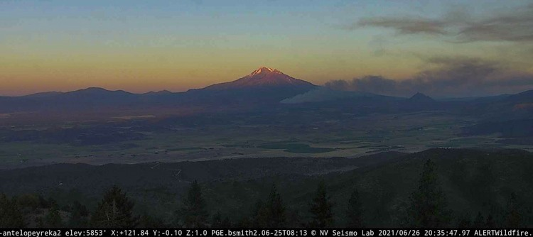 Lava Fire. Looking southeast from Antelope Yreka2 camera at 835 p.m. PDT June 26 2021