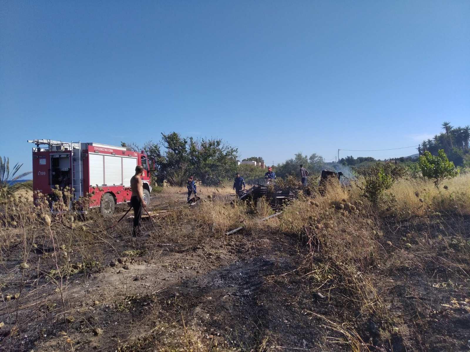 Πυρκαγιά σε χορτολιβαδική εκταση στο Γεννάδι Ρόδου