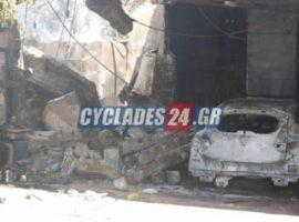 Πυρκαγιά σε πλυντήριο αυτοκινήτων στην περιοχή Υρίων στην Νάξο.(βίντεο)