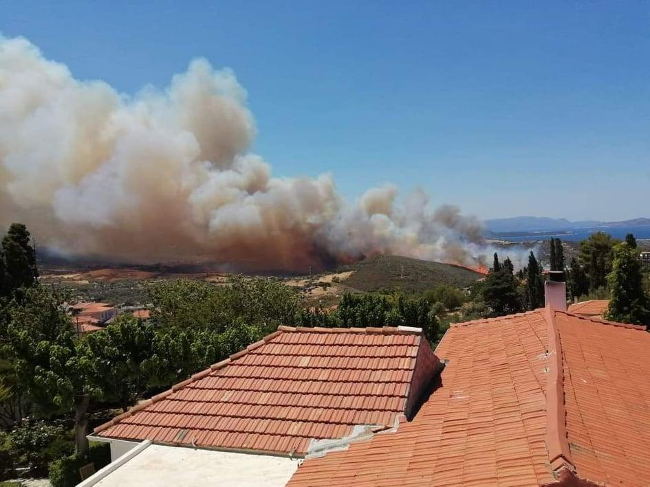 Πυρκαγιά στα Στύρα Ευβοίας: Εκκενώθηκε το Νημποριό