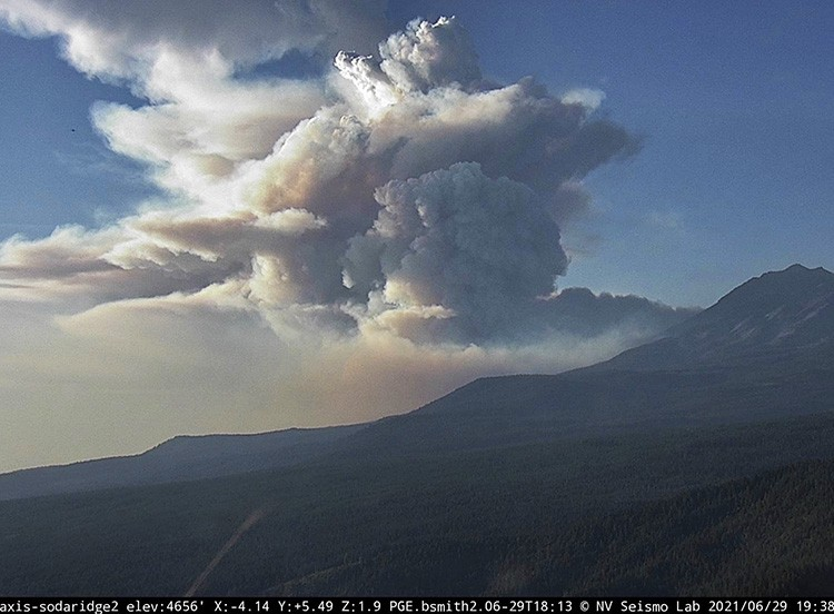 Convection column of smoke Lava Fire at 738 p.m. PDT June 29 2021