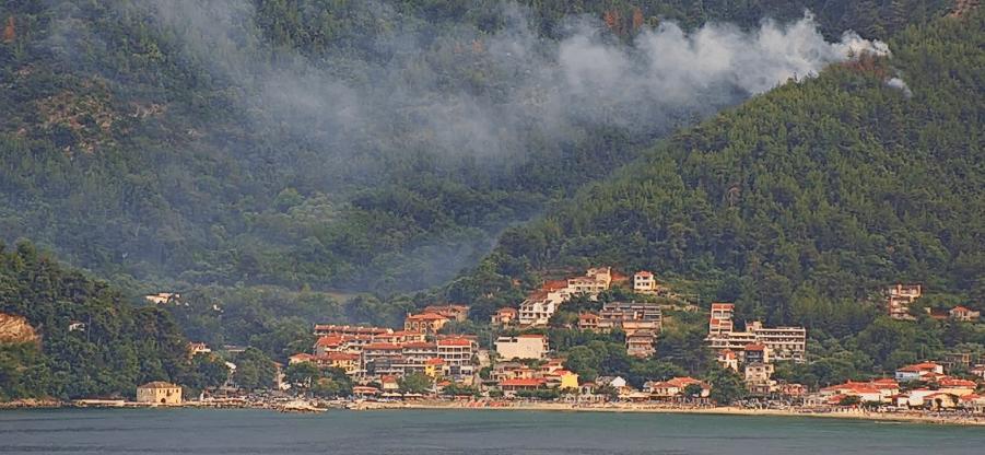 Πυρκαγιά ΤΩΡΑ σε δασική έκταση στην Θάσο (Φώτο)