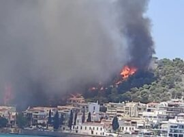 Υπό μερικό έλεγχο η μεγάλη πυρκαγιά στη Σαλαμίνα