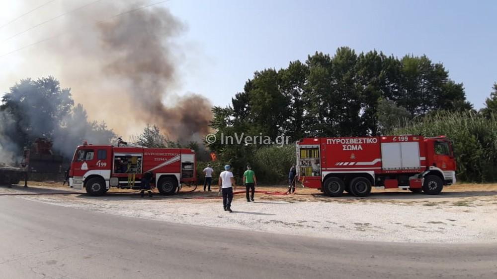 Πυρκαγιά εν υπαίθρω κοντά στον δρόμο Βέροιας – Λαζοχωρίου στην Ημαθία