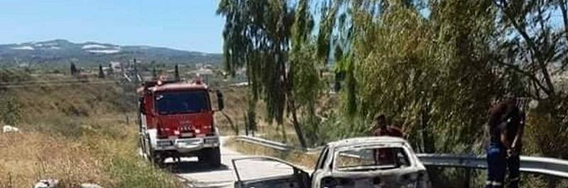 Πυρκαγιά σε Ι.Χ στην Κόρινθο ύψος της Πουλίτσας – Απλώθηκε σε χωράφια