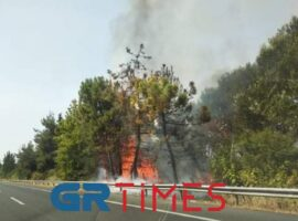 Πυρκαγιά στην Ε.Ο. Θεσσαλονίκης – Αθηνών (Φώτο)