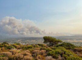Πυρκαγιά στη Ρόδο: Εκκενώθηκαν οικισμοί και στρατόπεδο – Χωρίς ρεύμα το μισό νησί