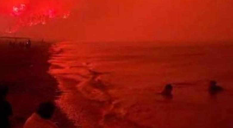 Πυρκαγιά στην Εύβοια: Σοκαριστική φωτογραφία με την παραλία της Αγίας Άννας