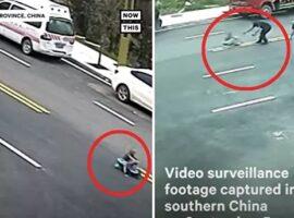Πυροσβέστης σώζει αγοράκι σε παιδικό αμαξάκι που έχει πάρει την κατηφόρα.(Βίντεο)