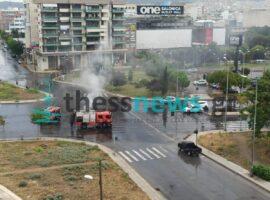 Πυρκαγιά σε Ι.Χ στη δυτική είσοδο της Θεσσαλονίκης