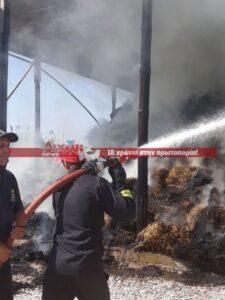 Πυρκαγιά σε εξέλιξη σε αποθήκη με ζωοτροφές στην Αστροβίτσα Αιτωλικού