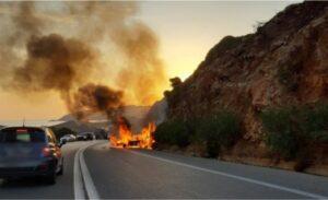 Ρέθυμνο – Αυτοκίνητο κάηκε ολοσχερώς στον αυτοκινητόδρομο ΒΟΑΚ
