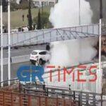 Θεσσαλονίκη: Στις φλόγες μηχανή μετά από σύγκρουση με ΙΧ – Ένας τραυματίας.(βίντεο)
